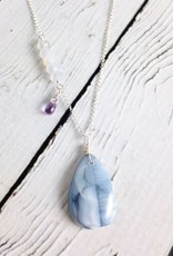 Handmade Silver Necklace with Blue Opal, Moonstone, Pink Amethyst