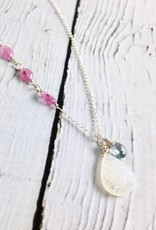 Handmade Silver Necklace with White Druzy, Pink Sapphire, Moss Aquamarine