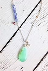 Handmade Silver Necklace with Chrysoprase, Tanzanite, Garnet, Charm