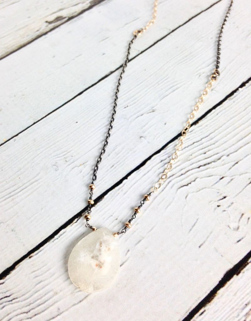 Handmade Sterling Silver Necklace with Solar Quartz Briolette, 3 14k Gold Filled Discs, Oxidized Silver and 14k Gold Filled Chains
