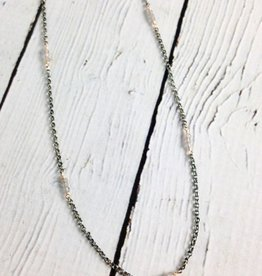 Handmade Sterling Silver Necklace with 7 Stations of 3 Tiny Labradorite Rondelles on 14k Gold Filled Wire, Oxidized Double Link Chain