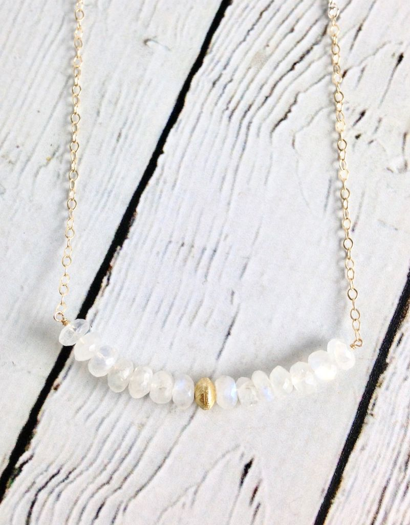Handmade Sterling Silver and 14kt Gold Fill Necklace with Rainbow Moonstone