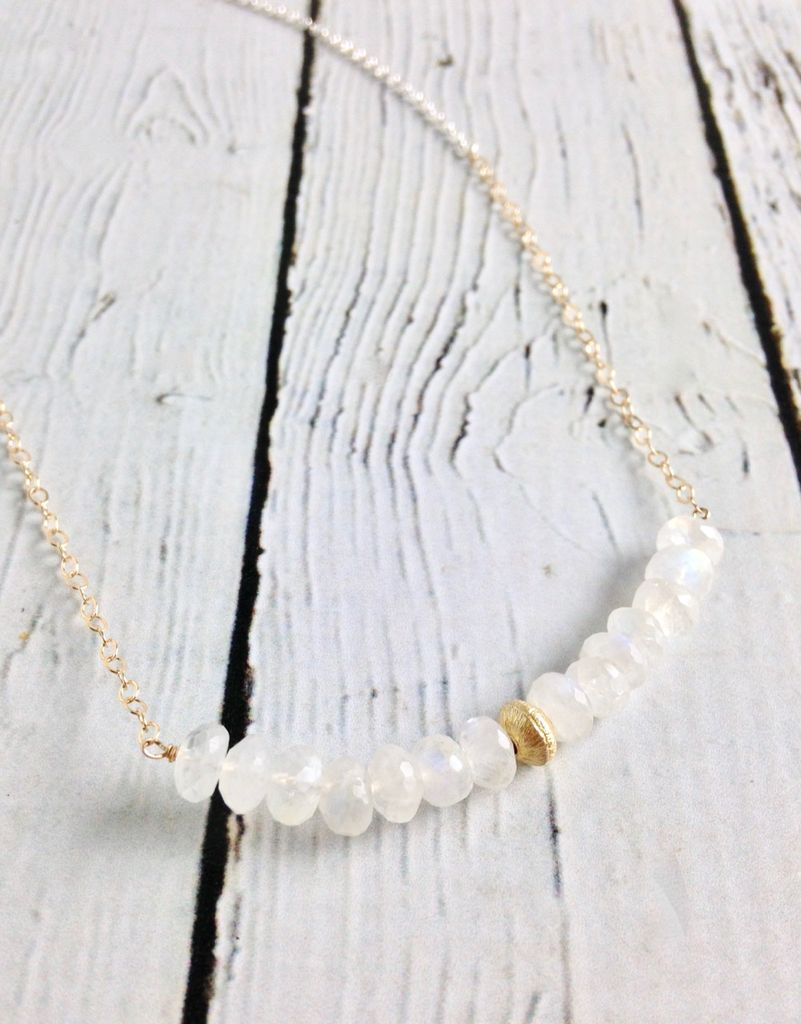 Handmade Sterling Silver Necklace with Rainbow Moonstone Bar Across Curved, 1 Brushed 14k Gold Filled Disc in Center, 14k Gold Filled Chain, Shiny Chain