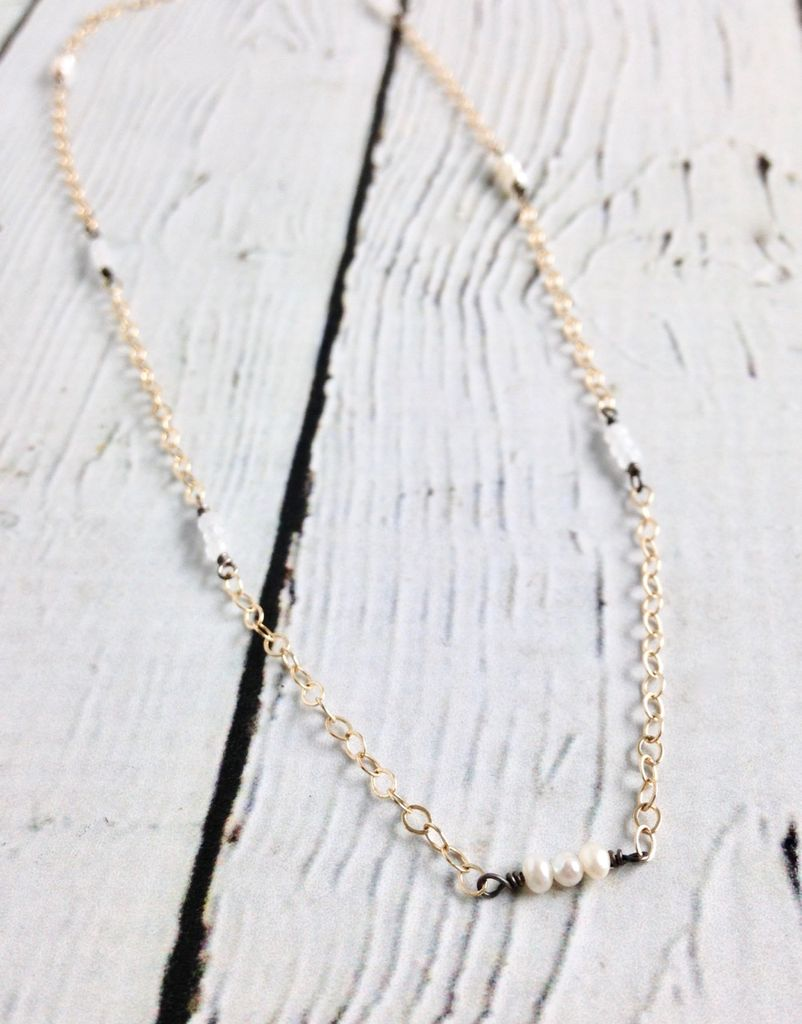 Handmade Sterling Silver Necklace with 7 Stations of 3 Rainbow Moonstone and Tiny White Pearls on Oxidized Wire, 14k Gold Filled Chain