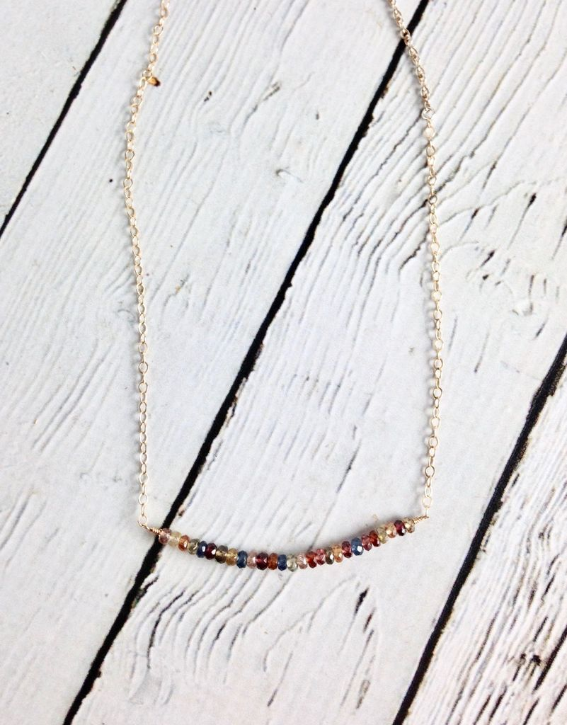 Handmade Sterling Silver Necklace with Multi Sapphire Across 14k Gold Filled Silver