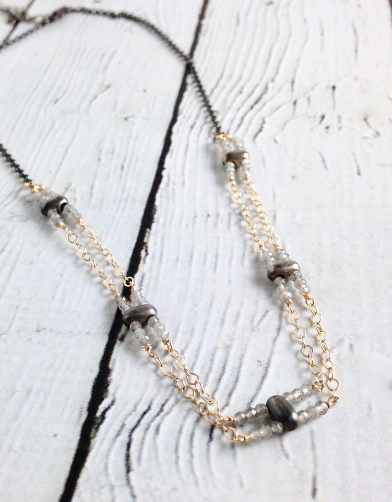 Handmade Sterling Silver Necklace with 5 Double Stations of 6 Tiny Labradorite with Oxidized Double Drilled Pill, Double 14k Gold Filled Chain Between, Oxidized Sides