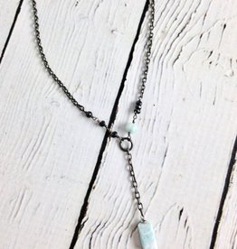 "Handmade Sterling Silver Necklace with Larimar Nugget Drop, 1 Faceted Larimar, Black Spinel ""Y"""