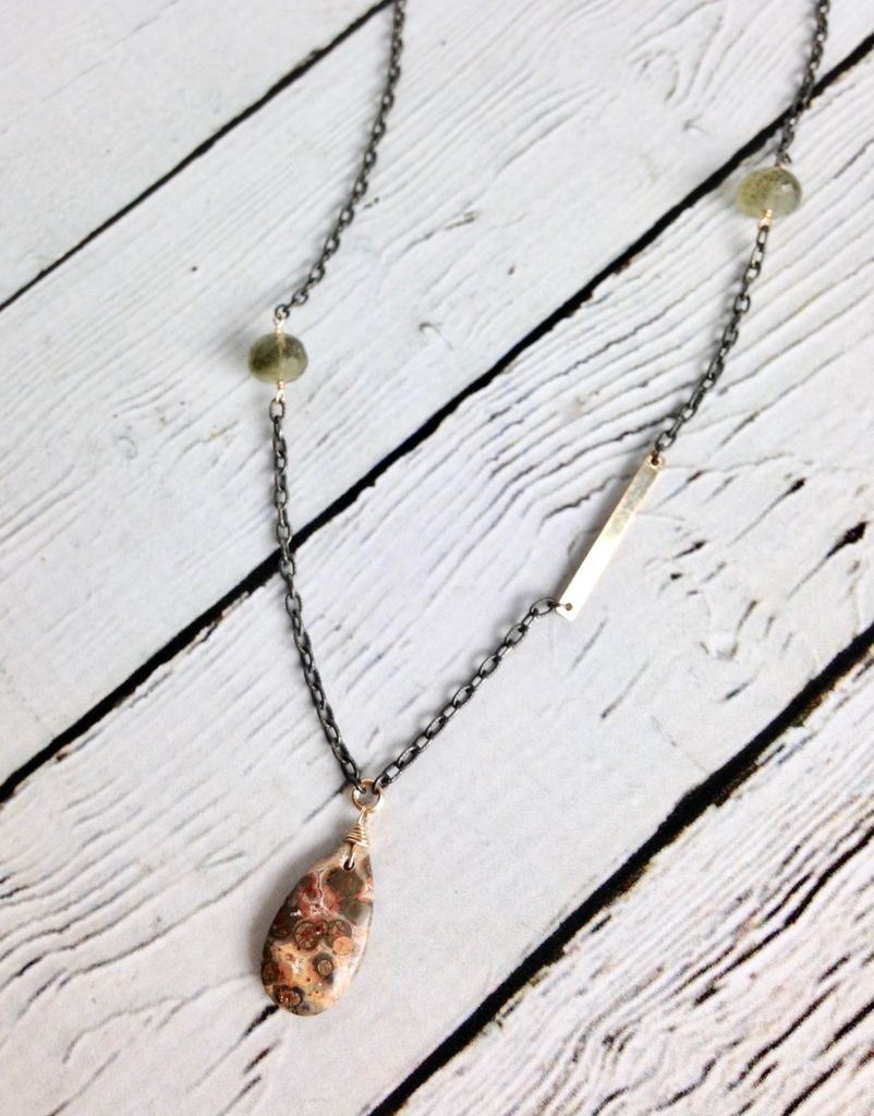 Handmade Sterling Silver Necklace with Orbicular Jasper Briolette, 2 Moss Aquamarine Rondelles, 14k Gold Filled Wire and Bar, Oxidized Chain
