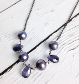 Handmade Sterling Silver Necklace with 3 Iolite Briolette, 4 Peacock Pearl Attached Oxidized