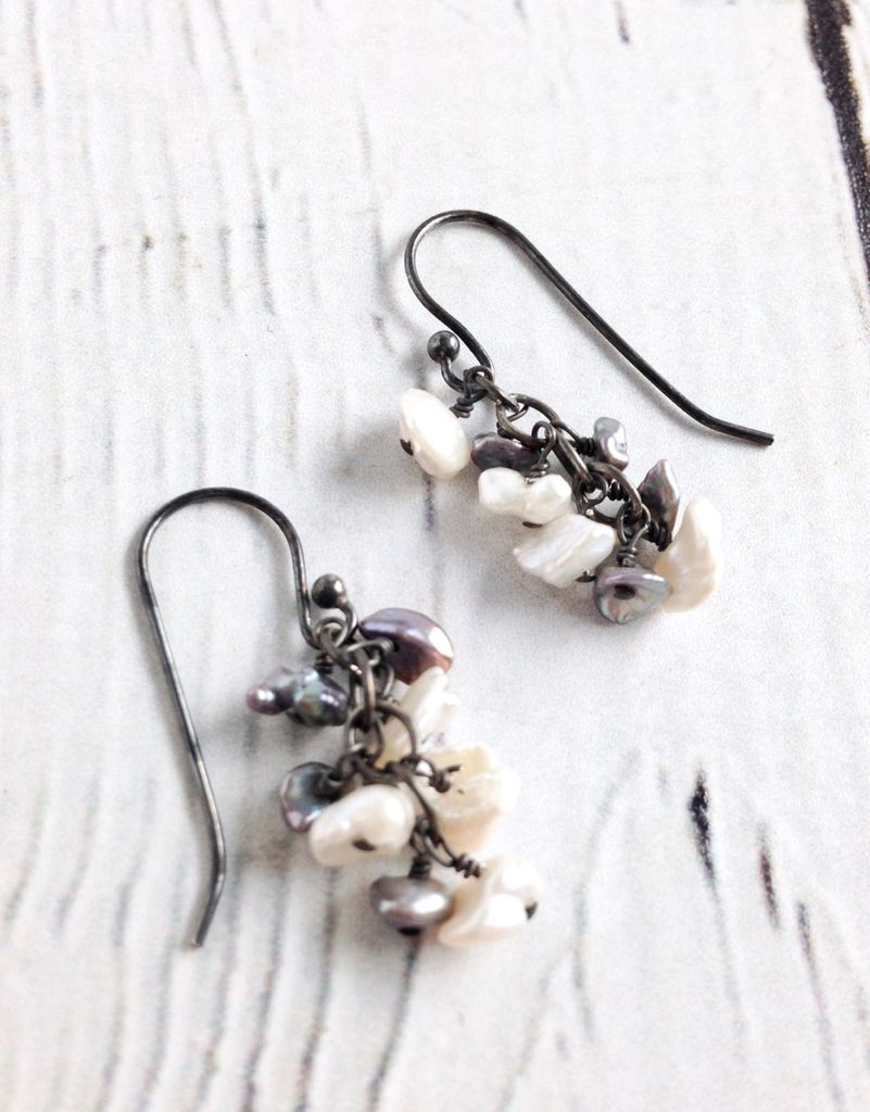 Handmade Silver Earrings with Grey, White Pearl Dangle