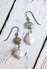 Handmade Sterling Silver Earrings with labradorite coin, silver pearl coin