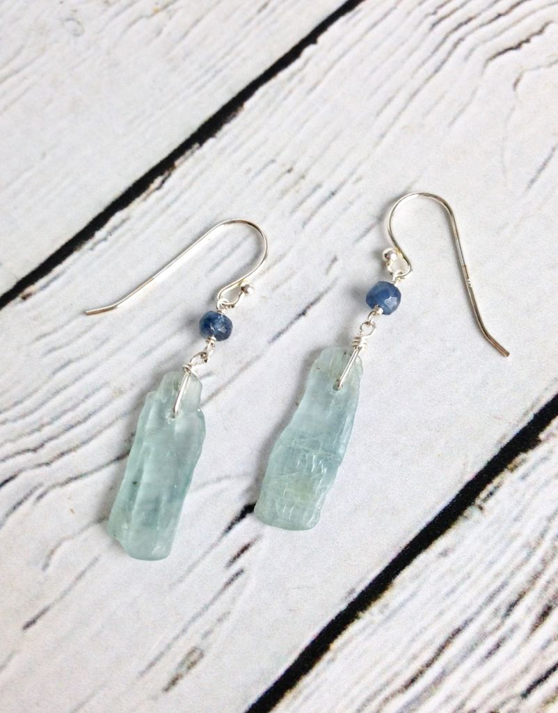 Handmade Sterling Silver Earrings with Kyanite Stick, Kyanite Rondelle