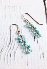 Handmade Sterling Silver Earrings with Sleeping Beauty Turquoise, Apatite Dangle