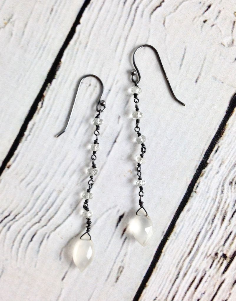 Handmade Sterling Silver Earrings with Moonstone Marquis, Aquamaine Rondelle 5 Dangle