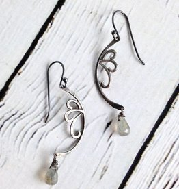 Handmade Sterling Silver Earrings with Labradorite, Scroll Silver
