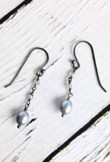 Handmade Sterling Silver Earrings with Grey Pearl, 3 Tiny Labradorite Dangle