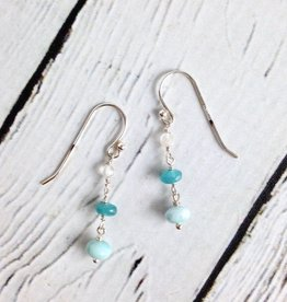 Handmade Sterling Silver Earrings with Larimar, Dyed Jade, Moonstone Dangle