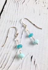 Handmade Sterling Silver Earrings with Larimar, Dyed Jade, Moonstone Dangle