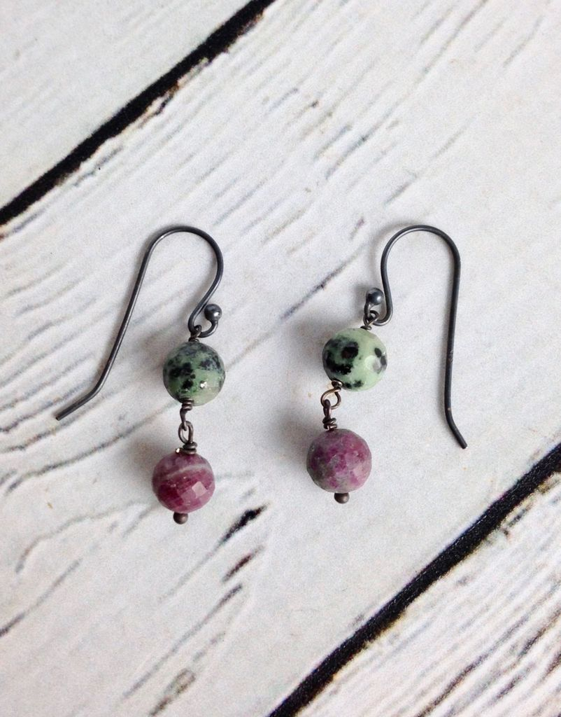 Handmade Silver Earrings with 2 Ruby Zoisite Balls