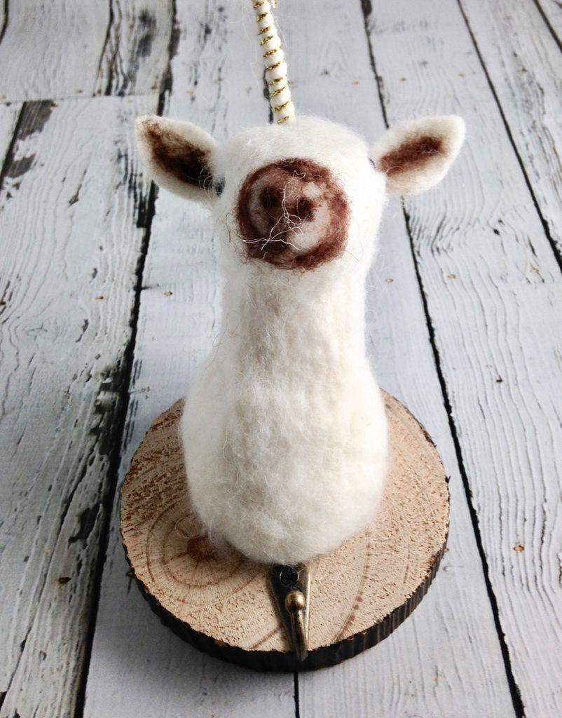 Wool Felt Unicorn Wall Hook With Wood Base
