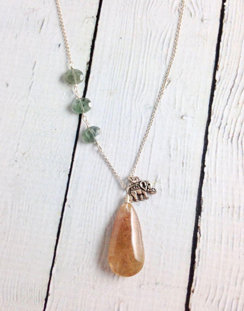 Handmade Silver Necklace with Golden Rutilated Quartz, Moss Aquamarine, Elephant charm