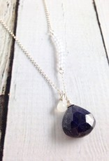 Handmade Silver Necklace with Blue Sapphire, Chalcedony, White Moonstone
