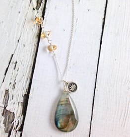 Handmade Silver Necklace with Labradorite, Citrine, Lotus charm