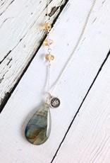 Handmade Silver Necklace with Labradorite, Citrine, Lotus charm