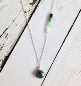 Handmade Silver Necklace with Emerald, Ombre Emeralds