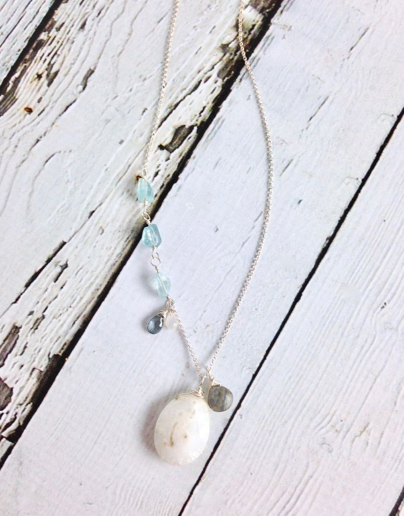Handmade Silver Necklace with Solar Quartz, Aquamarine, Labradorite, Moonstone