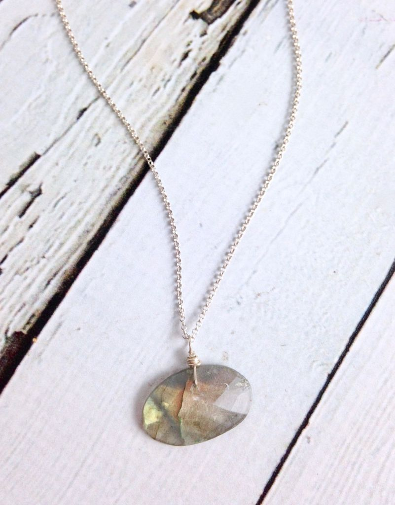 Handmade Sterling Silver Necklace with Labradorite Oval
