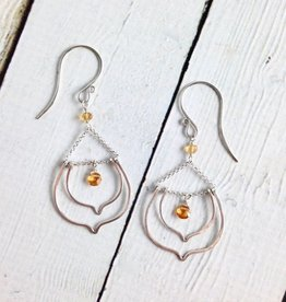 Handmade Silver Lotus Earrings with Drops Citrine