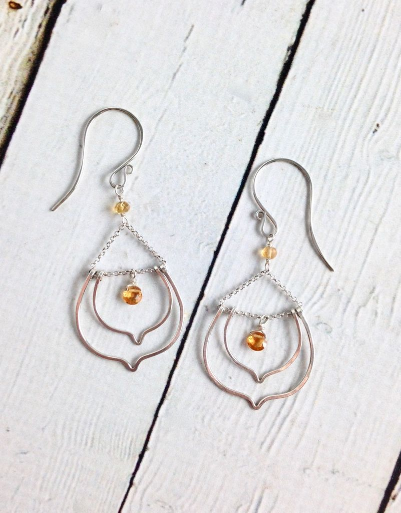Handmade Silver Lotus Earrings with Drops Citrine