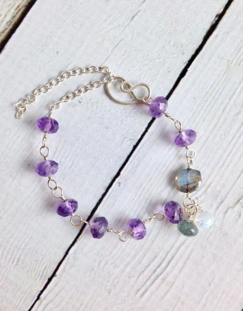Handmade Silver Bracelet with Amethyst, Labradorite, Moonstone, Moss Aquamarine