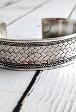 Oxidized Braided Silver Cuff Bracelet