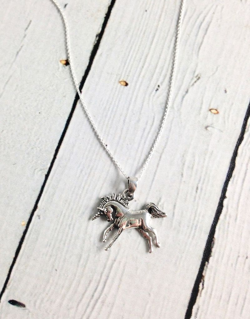 Sterling Silver Prancing Unicorn Pendant on Light Rolo Chain Necklace