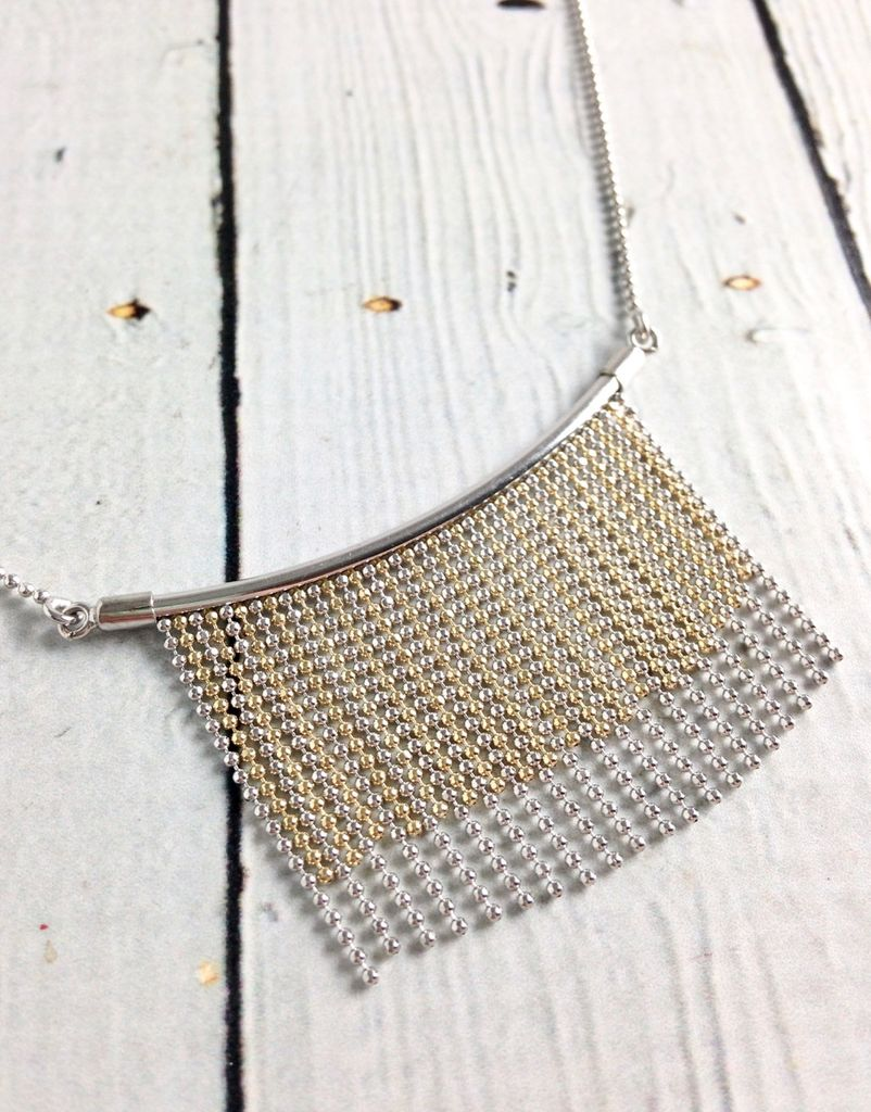 Sterling Silver Bar and Two Tone Beaded Strand Necklace