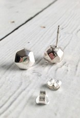 Electroformed Matte Sterling Silver Single Faceted Silver Pebble Stud Earrings