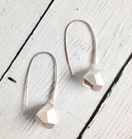 Matte Sterling Silver Faceted Drop Earrings