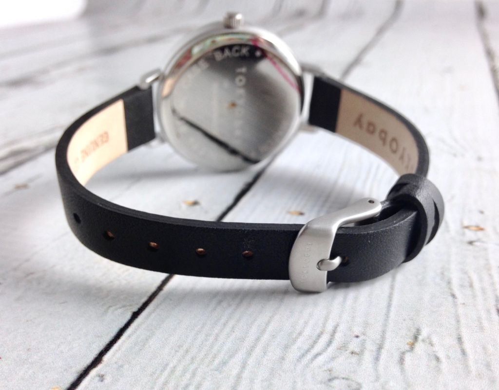 Ara Watch, Black Face with Skinny Black Leather Strap