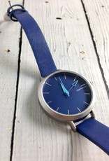 Ara Watch, Blue Face with Skinny Blue Leather Strap