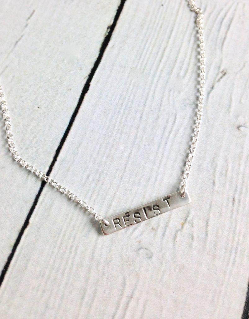 "EvanKnox Sterling Silver Handmade and Handstamped ""RESIST"" Necklace"