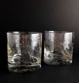 Pair of Northern Hemisphere Night Sky Whiskey Glasses