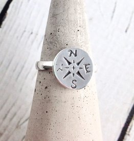 Sterling Silver Journey Compass Ring Size 7
