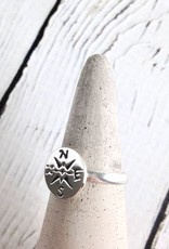 Sterling Silver Journey Compass Ring Size 6