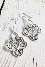 Sterling Silver Lotus Design Earrings