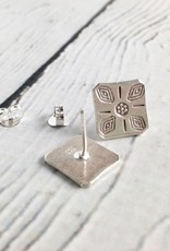 Hilltribe Silver Stamped Square Post Earrings