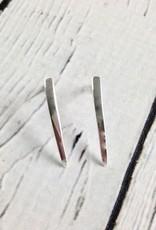 Sterling Silver Long Curved Bar Stud Earrings