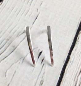 Sterling Silver Long Curved Bar Stud Earrings