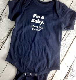 I'm a Baby, What's Your excuse? Onesie, Navy Blue, 6-12 month